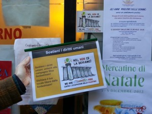 A retailer in Rome displays a sign indicating they don't sell SodaStream