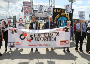 More than 50 people joined a demonstration outside the G4S shareholders meeting at which the company announced plans to end its role in Israel's prison system, but only by 2017