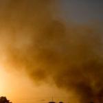 Smoke seen over the sky of Gaza following an Israeli air strike, July 8, 2014. © Yotam Ronen/ActiveStills