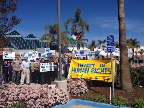 Protest at HP shareholders meeting calls for end to support for Israeli apartheid