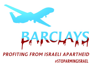 Stickers about Barclays' investment in the arms trade with Israel have been spotted across cities in the UK