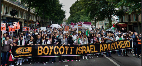 A demonstration against Israel's 2014 attack on Gaza in France, where the government has been prosecuting BDS activists