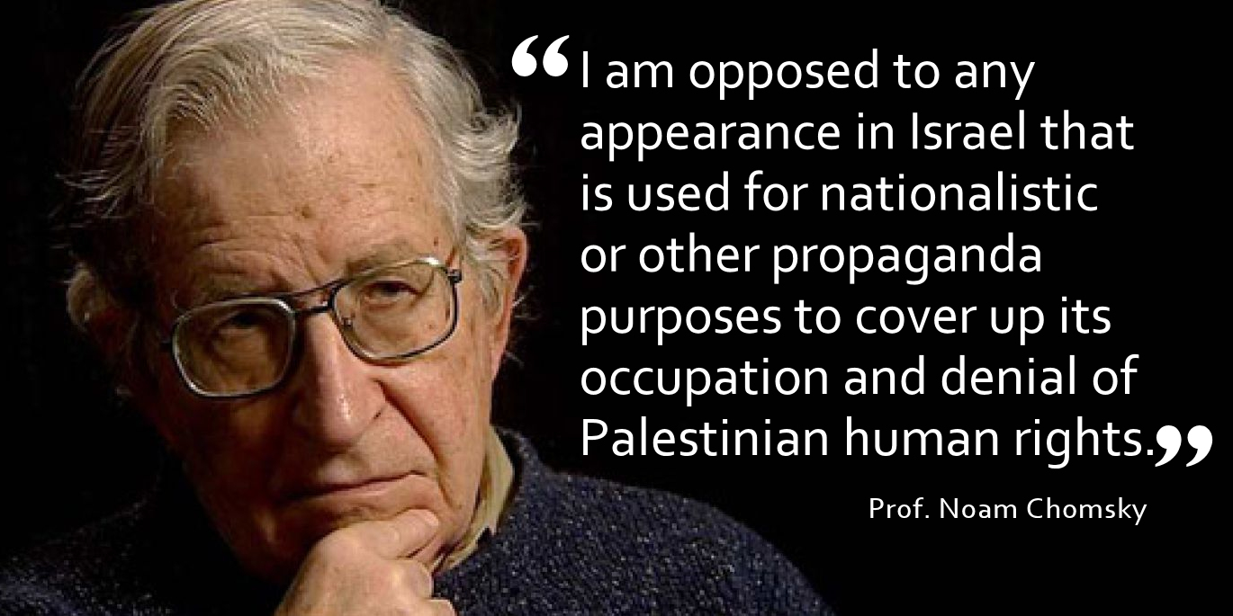 Prof. Noam Chomsky clarifies position on cultural boycott of Israel