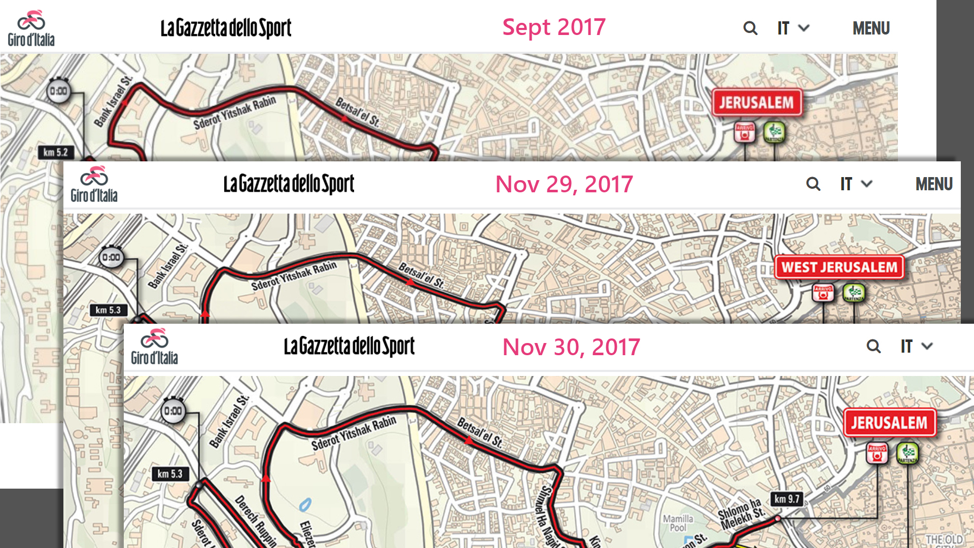 "Giro d'Italia before and after images of ""West Jerusalem"""