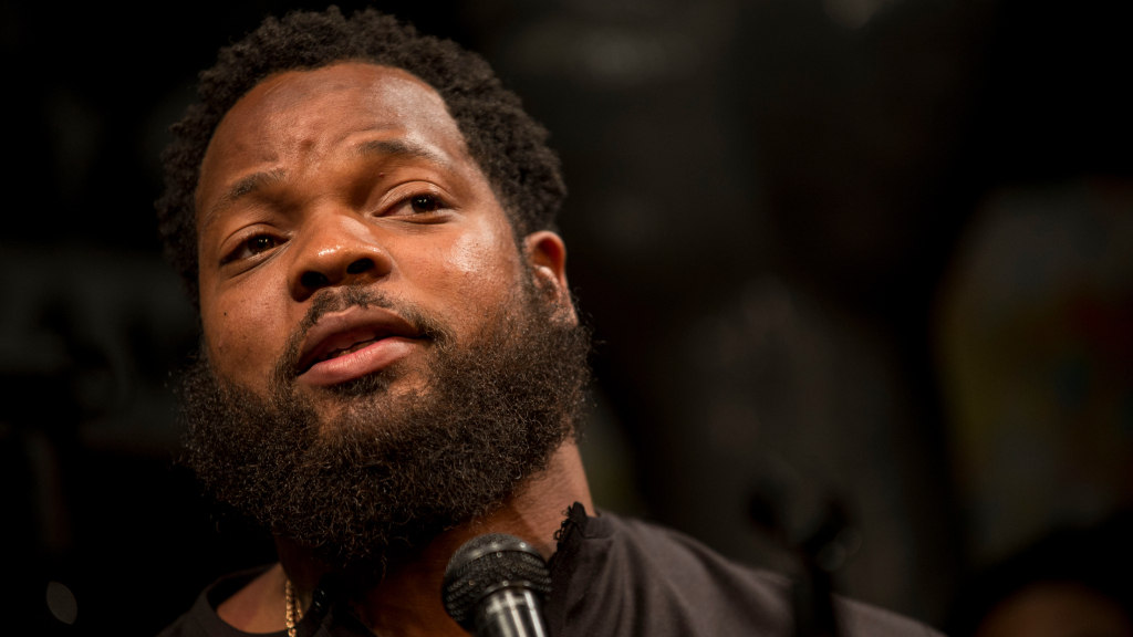 Michael Bennet, Seattle Seahawks Defensive Lineman, speaks at a panel at Busboys and Poets in Washington, D.C. on April 10, 2017.