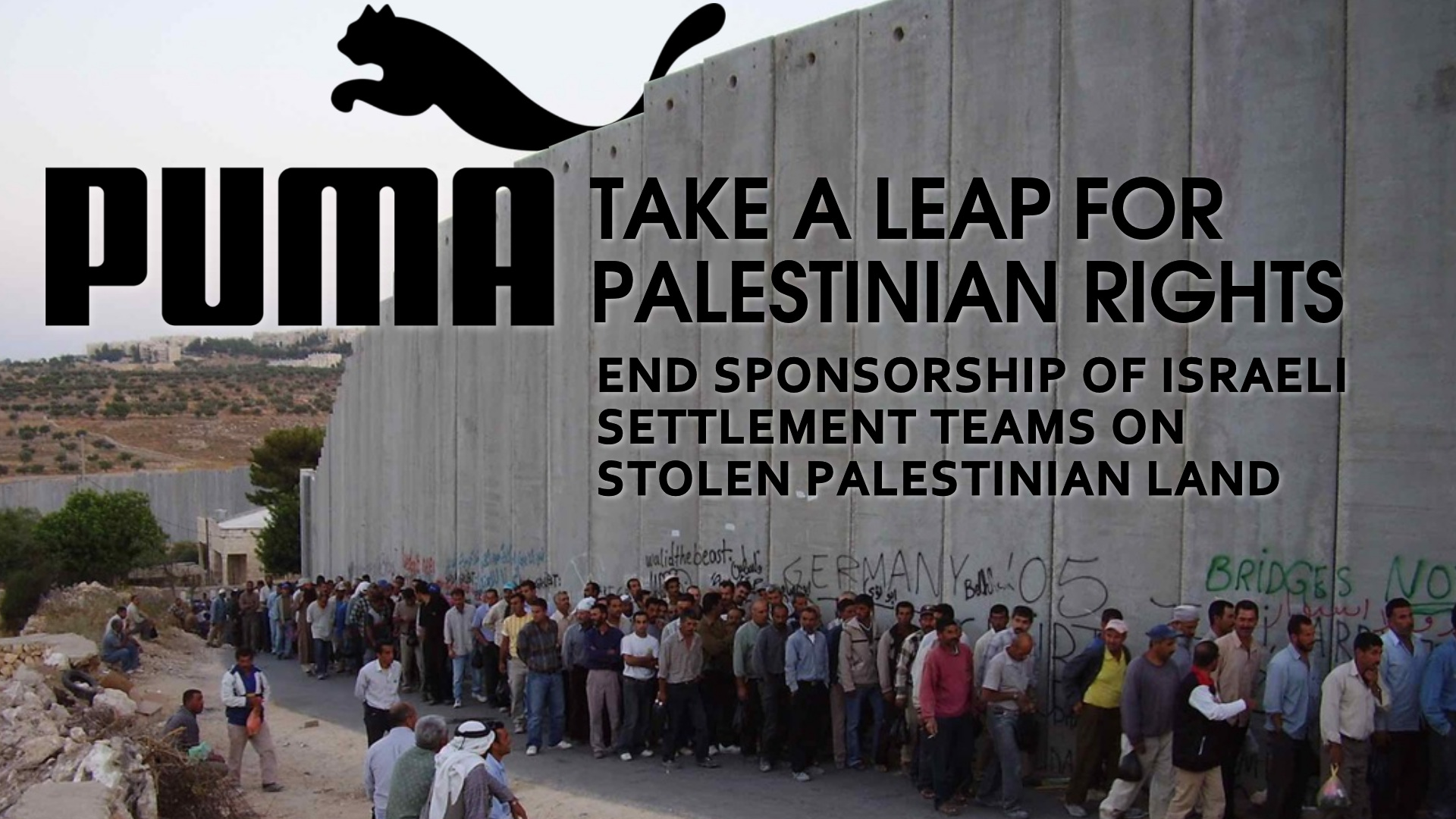 Puma, end sponsorship of Israeli settlement teams on stolen Palestinian land
