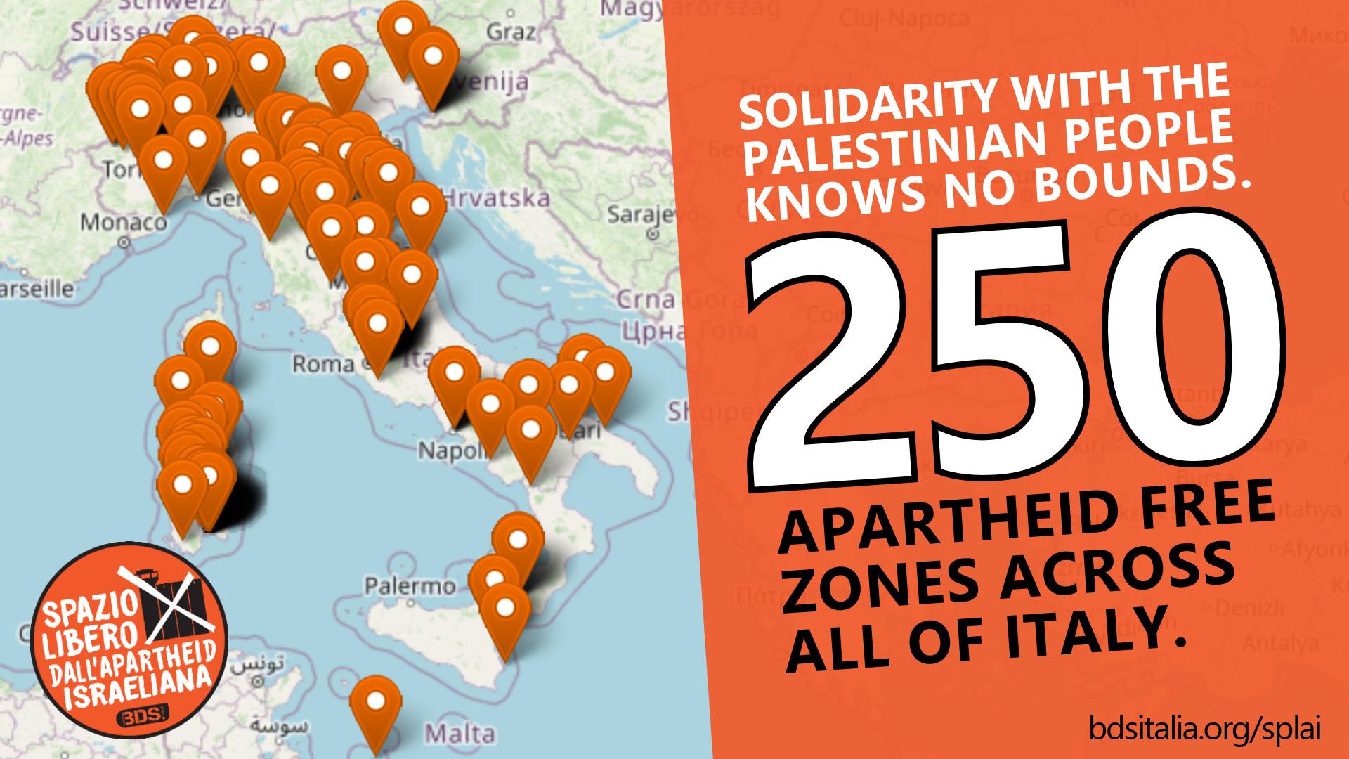 250 Israeli Apartheid Free Zones Throughout Italy