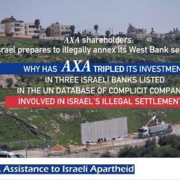 Stop AXA assistance to Israeli apartheid