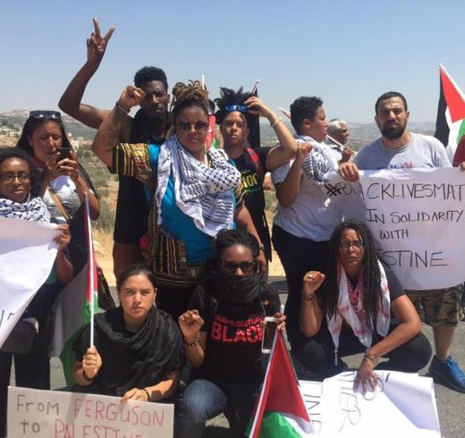 Delegates from the Movement for Black Lives join Palestinian organizers and activists in the West Bank village of Bilin during a weekly Friday protest against Israel's occupation and colonization, 29 July. (via Facebook)