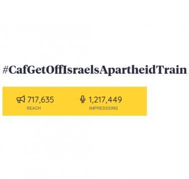 #CAFGetOffIsraelsApartheidTrain