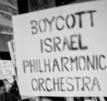 Israel Philharmonic Orchestra Protest at Lincoln Center, New York City. Photo credit: Bud Korotzer