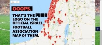 Puma says it doesn't support teams in illegal settlements. That's its logo on a map of them.