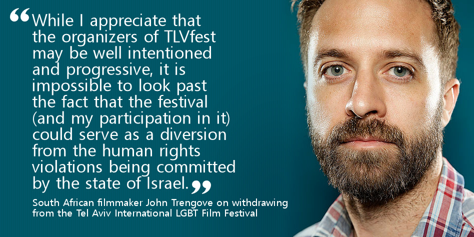 Filmmaker John Trengove cancels his participation at the opening night of TLVFest